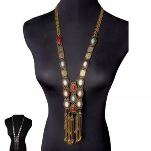 """""""Classic Boho"""" Long Charm Necklace Plated Gold"""